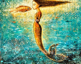 Mermaid art print,Mystical Mermaid blue giclee print on canvas by Shijun Munns-Art gift-Fantasy wall art-Oil painting print-Ocean art-Signed