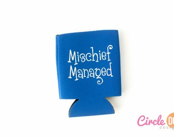 Mischief Managed Harry Potter KOOZIE® - Personalized Beer/Soda Can Hugger - Fan fiction, wizard, magic, nerdy gift, pop culture