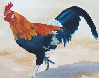 Waimea Rooster, Set of 4 Blank Note Cards, 4.25x5.5 inches