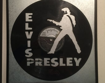 "Elvis Presley vinyl record wall art - upcycled from an original 12"" vinyl record"