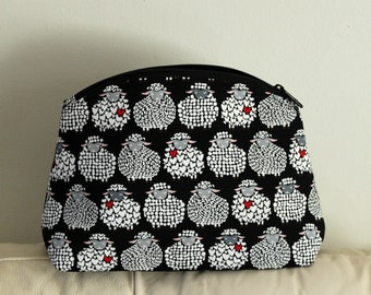 Project bag, make up bag, toiletry bag, craft purse, knitting bag, crochet bag, zig zag pouch, zipper bag, craft bag, black, white, red,