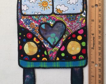 Hippie love bus fabric patch