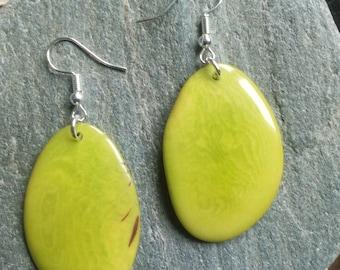 1357 - earrings green Tagua kiwi or vegetable ivory