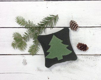Tree Pillow, Maine Balsam Pillow, Cabin Pillow, Rustic Home Decor, Pine Tree Pillow,Woodland Pillow, Eco Friendly Gift, 4 Inch Square Pillow