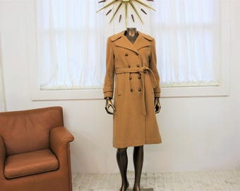 Vintage 1960's beige wool coat, double breasted