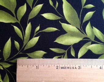 Green Leaves on Black Background, Catalina by Maywood Studio, 100% Cotton