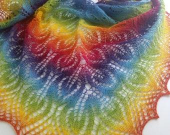 Delicate woolen shawl, 100% wool, Knit shawl, knit women's, triangular shawl, rainbow shawl, women's accessories,wrap womens,wool shawl