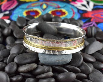 Textured Sterling Silver Bangle