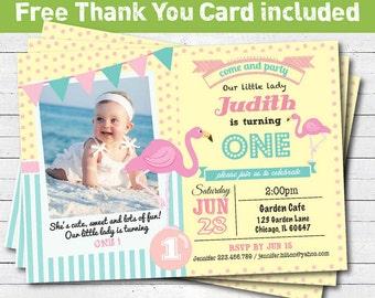 Flamingo birthday invitation. Girl 1st first birthday invitation. pink yellow turquoise. photo printable digital invite. KB016