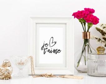 Je T'aime Wall Art, Je T'aime Sign, Vanity Wall Decor, I Love You Print, French Decor, Printable Bedroom Decor, Love Quotes, Love Art
