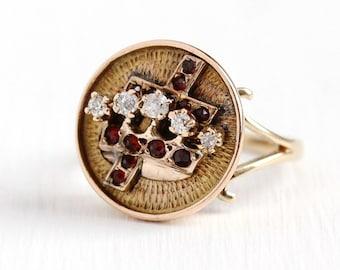 Antique Crown Ring - 10k Rosy Yellow Gold Genuine Diamond & Rose Cut Garnet Statement - Vintage Size 5 3/4 Victorian Cross Gem Fine Jewelry