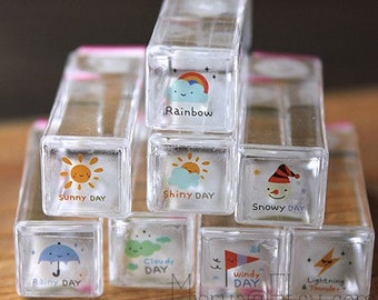 8 Pcs Crystal Schedule Stamps - Weather Stamps