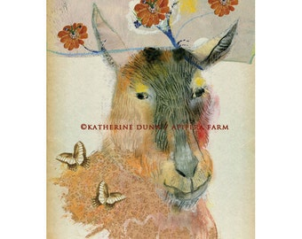 3 Art Cards of Stevie the Goat with Story Inside