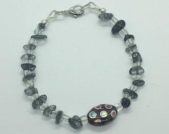 Grey Stone and bead bracelet