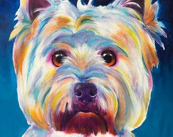 West Highland White Terrier, Westie, Westie Art, Pet Portrait, DawgArt, Dog Art, Pet Portrait Artist, Colorful Pet Portrait, Art Prints