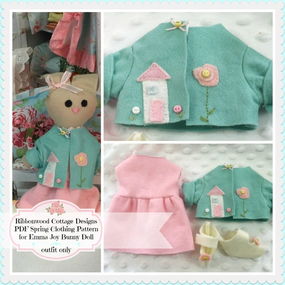Sewing Pattern Wardrobe Felt Spring Outfit and Shoes for Emma Joy Bunny Doll-PDF pattern for outfit only