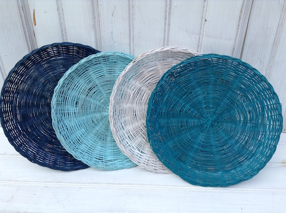 & Wicker Paper Plate Holders FOUR Picnic Colorful Painted