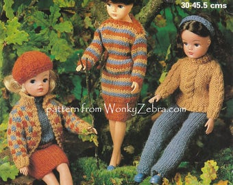 Teen doll Sindy dolls clothes knitting pattern 9 pieces Vintage Knit Pattern PDF 599 from WonkyZebra