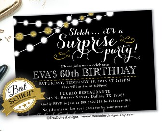 Diy print birthday invites adult 80th birthday invitation surprise 60th birthday invites adult surprise birthday invites black gold glitter birthdays solutioingenieria Images
