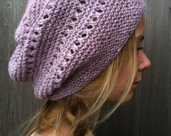 Knitting PATTERN Slouchy Hat - Hipster Hat - Slouchy Hat - Easy Knitting Pattern - Simple Hat - Garter Stitch and Eyelets - Hat Knitting