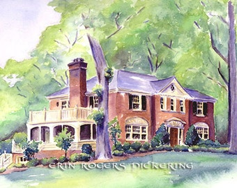 11x14 Traditional Custom House Portrait in Watercolor