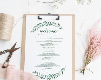 Welcome itinerary wedding guest welcome letter template green welcome itinerary wedding guest welcome letter template emerald green gardens printable wedding welcome thecheapjerseys Image collections