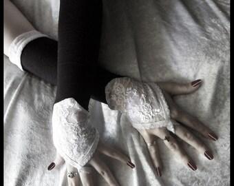 Moonlight Over Pemberley Arm Warmer - Black - White Lace - Fingerloops - Gothic Wedding Regency Belly Dance Victorian Vampire Caberet Goth