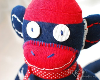 Handmade Sock Monkey Doll, Plushie, Stuffed Animal Toy, Art Doll, Red White Stars Blue, Home/Desk Decor, Shelfie, Monkey Lover Gift, SAMMY
