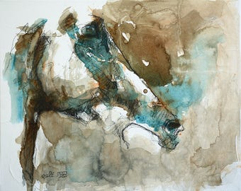 Contemporary Original Fine Art, Acrylique and Black Chalk Painting of a Horse Head, Animal Art, Equine Painting