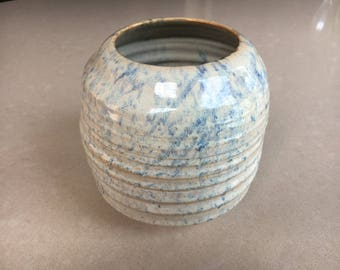 Blue and White Textured Pot