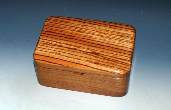 Small Wood Box with Tray - Handmade Wooden Box of Walnut and Zebrawood - Desk Box, Office Acessory, Gift For Men, Jewelry Box, Wooden Box