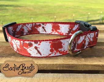 Zombie blood splatter dog collar - the walking dead