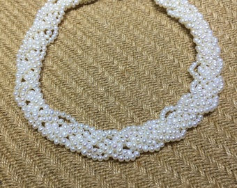 White Pearl Necklace /Layered Brides Statement Pearl Necklace 4-5MM