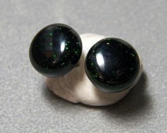 10mm Green Goldstone Post Earrings with Sterling Silver