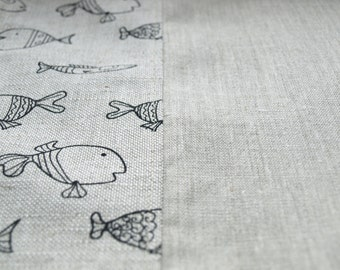 Linen Curtains natural linen black fun fishes Cafe curtain Curtain valance Eco Friendly Gift , great GIFT