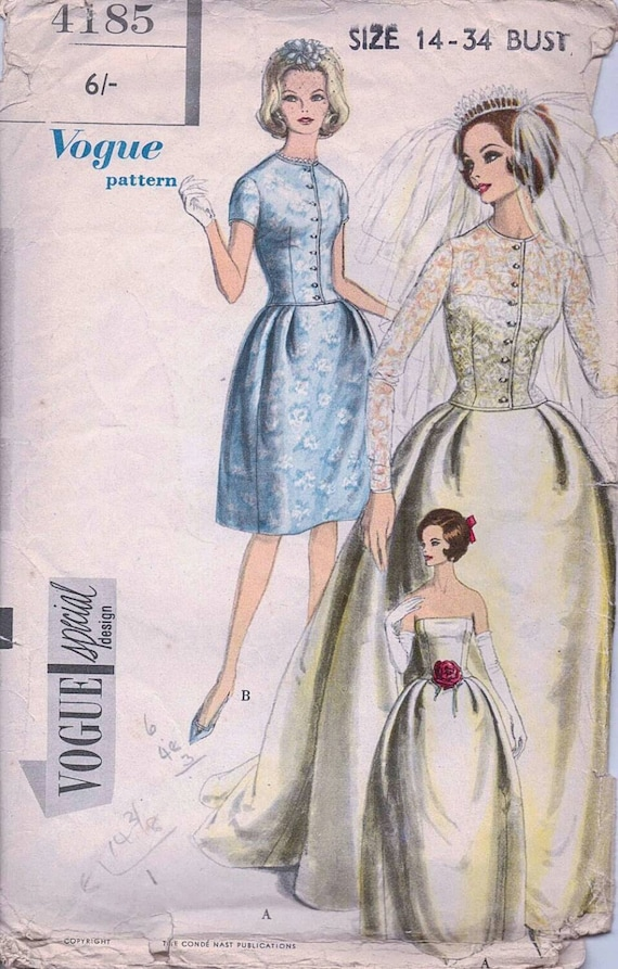 50s Wedding dress pattern special design 4185 Vogue Bridal