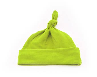 Baby Top Knot Hat (Solid Lime Green) ||| baby shower gift, newborn hat, newborn take home outfit, baby jersey hat, knotted hat