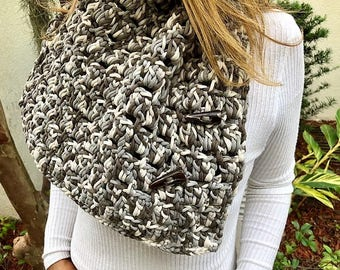 Crochet Grey Scarf With Buttons