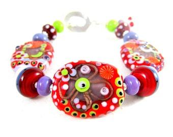 Red Pink Purple Glass Bracelet, Statement Bracelet, Lampwork Bracelet, Funky Jewelry, Hippie Bracelet Abstract OOAK Bracelet - Flower Child