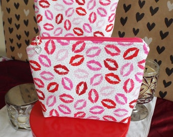 Hot Lips Multi-purpose Bag!! Large, padded! Pink, hot pink and red lips on a white background. An anything you want bag!!