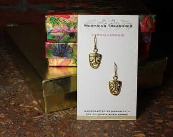 Happy and Sad gold plated earrings on 14k gold filled eqr wires