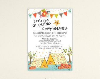 Glamping Birthday Invitation, Sleepover Invitation, Girls Camping Birthday Party, Glam Camping Birthday,  digital, printable, K9008