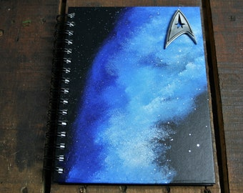 Star Trek Inspired BLANK A5 Hand Painted Hardback Notebook/ Sketch Book/ Journal / Guest Book
