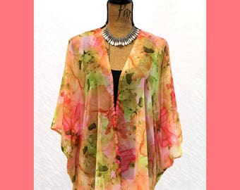 Boho Kimono Cardigan in Pinks, Corals and Greens, Abstract Floral, Chiffon Jacket, Sheer Wrap, Festival wear, Cruise wear, one-size