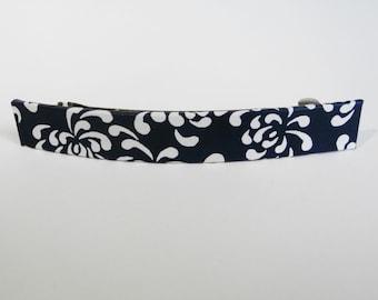 Indigo French Barrette, Long Hair Clip, Large Chiyogami Barrette