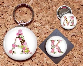 Alphabet Flower Magnet, Floral Initial Key Chain, Flowers Pin, Refrigerator Magnet, Key Ring, Brooch Pin, Fridge Magnet, Key Holder