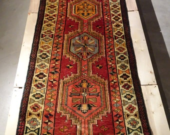 "Vintage Persian Rug Runner 1940's SARAB 3' 3"" x 10' 9"" Handmade, Hand-knotted, Natural Dyes, Bohemian, Boho Chic, Made in Iran 953m"
