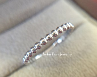 14k White Gold 2mm Wide Women's Gold Beaded Wedding Band FREE SHIPPING