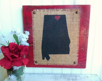 ALABAMA, AL, cities, towns, wood, Burlap wall sign, Red, Black, customized, Home & Living, Home Décor, State, State Shapes, 50 States