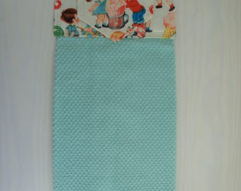 Teal Hanging Kitchen Hand Towel with Cotton Fabric Top, Oven Towel, Kitchen Decor, Gift for Her, Housewarming Gift
